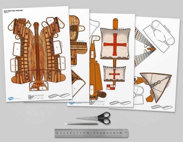 MU Columbus Day The Santa Maria Ship Paper Model Template Mock Up