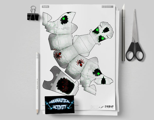 MU Pixel Skull Paper Toy Flat Template Mock Up