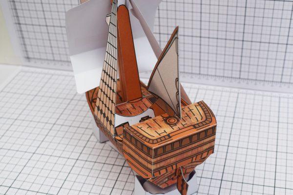 PTI Columbus Day The Santa Maria Ship Paper Model Back Image