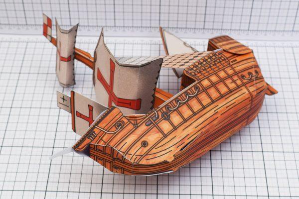 PTI Columbus Day The Santa Maria Ship Paper Model Bottom Image