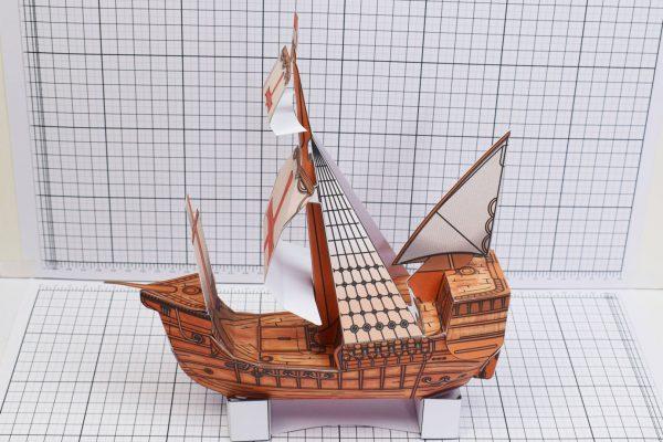 PTI Columbus Day The Santa Maria Ship Paper Model Bow Image