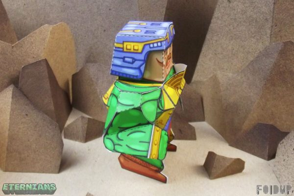 PTI Eternians Man-At-Arms Fan Art Paper Toy Side Image