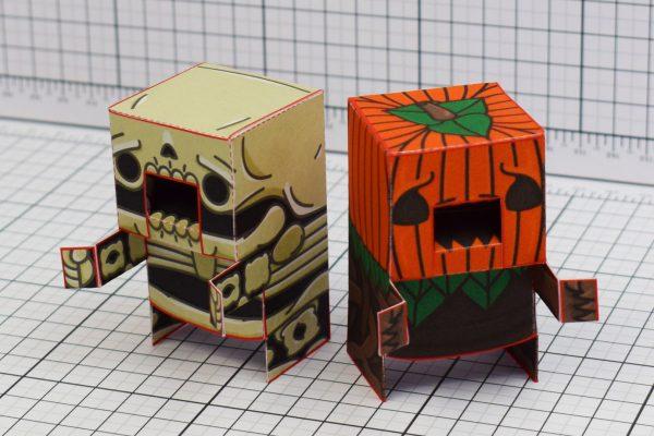 PTI Halloweenies Paper Toy Skeleton Pumpkin Image
