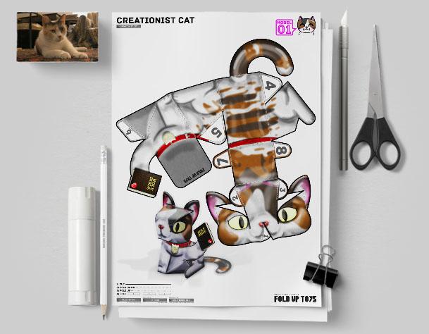 MU Creationist Cat Bible Paper Toy Flat Template Mock Up