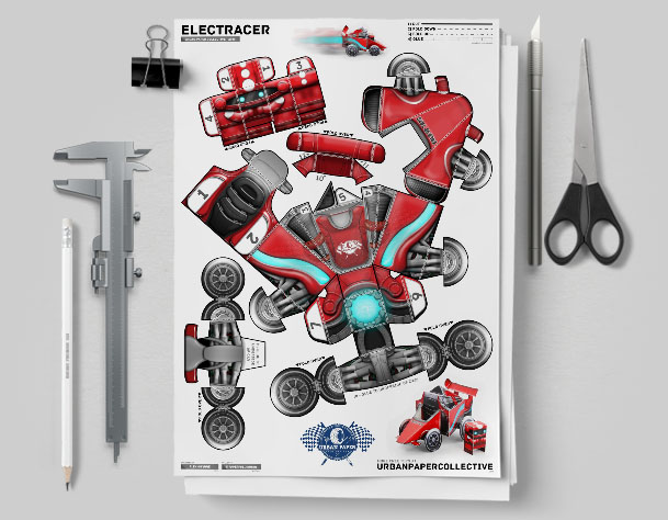 MU UPC Robot Race Car Paper Toy Flat Template Mock Up