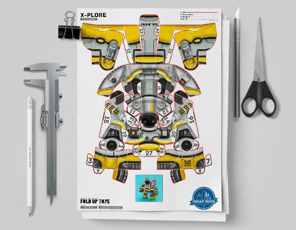 MU Xplore Space Robot UPC Paper Toy Flat Template Mock Up