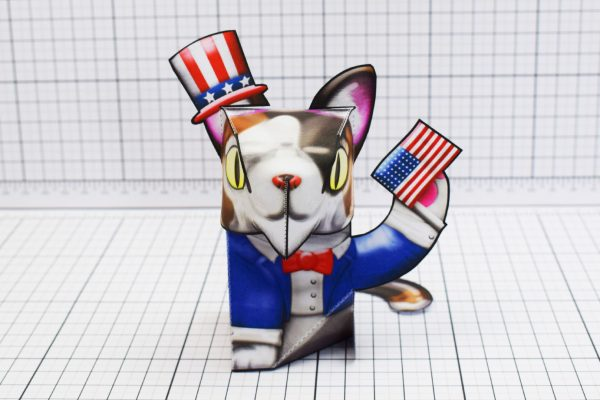 PTI Creationist Cat 4th July America Paper Toy Image Front