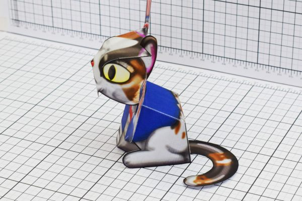 PTI Creationist Cat 4th July America Paper Toy Image Side