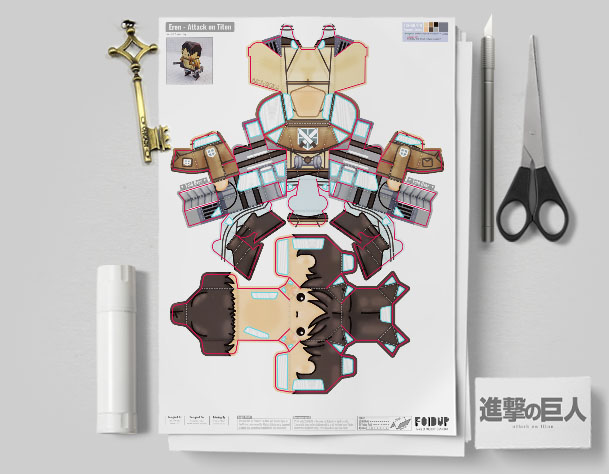 MU Attack on Titan Paper Toy Flat Template Mock Up