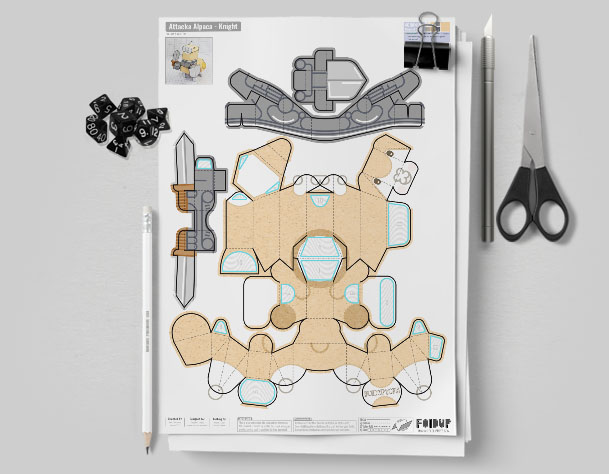 MU Attacka Alpaca Paper Toy Flat Template Mock Up