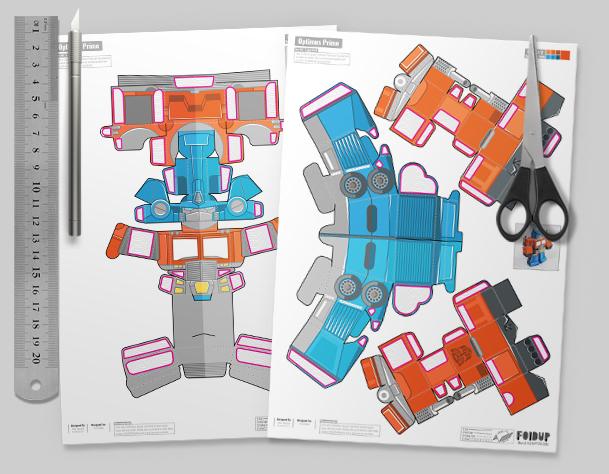 THU Optimus Prime Transformers Fan Art Paper Toy Single Thumbnail