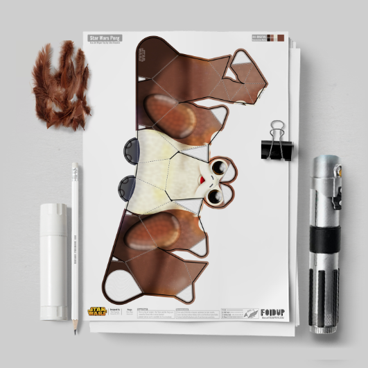 MU Porg Star Wars Paper Toy Flat Template Mock Up square