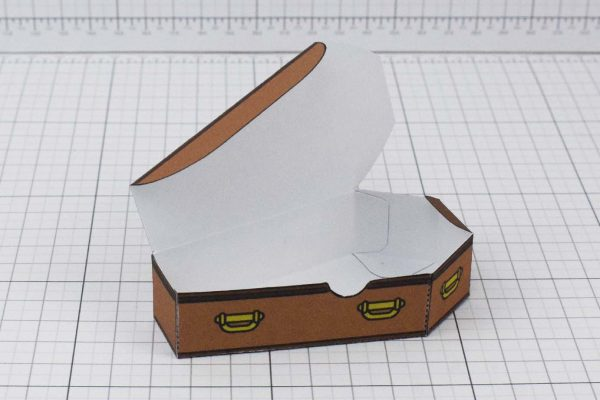 PTI Halloween Coffin Candy Holder Paper Toy Image - Open