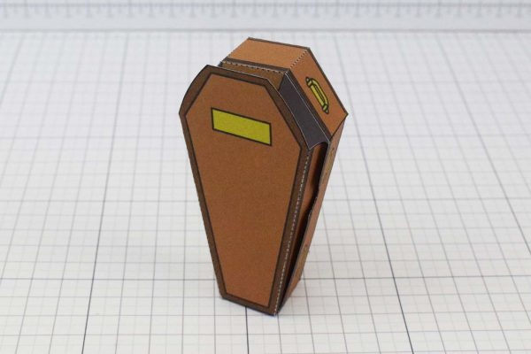 PTI Halloween Coffin Candy Holder Paper Toy Image - Stood