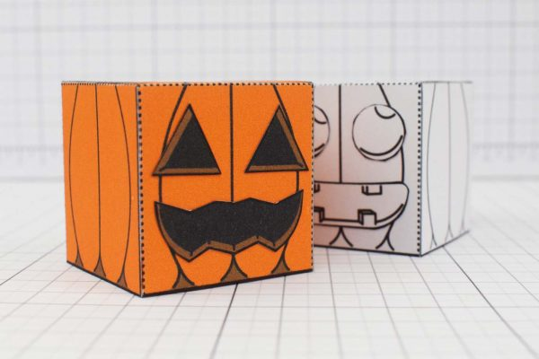PTI Halloween Pumpkin Paper Toy Image - Close Up