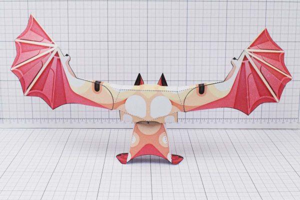 PTI Man Bat Halloween Paper Toy Image Back