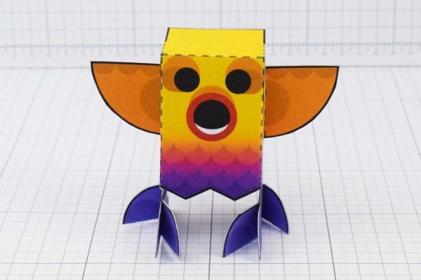 PTI Rainbow Bird Paper Toy Image - Front