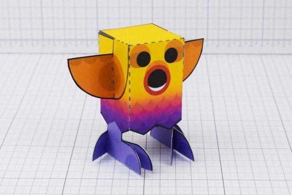 PTI Rainbow Bird Paper Toy Image - Main