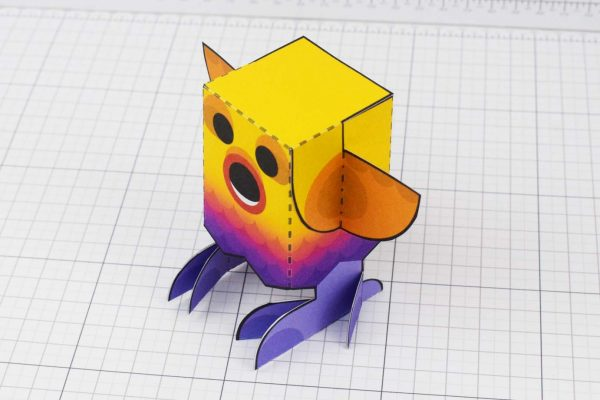 PTI Rainbow Bird Paper Toy Image - Top