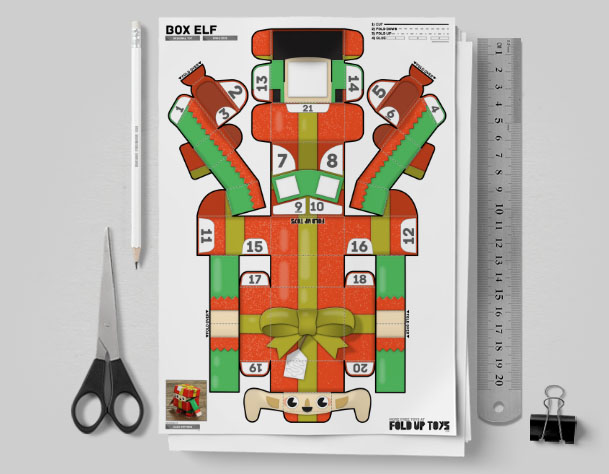 MU Christmas Paper Toy Craft Decoration CuteBox Elf Image - Mock Up