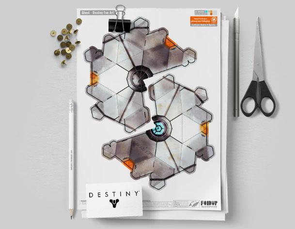 MU Destiny Ghost Fan Art Paper Craft Image - Mockup
