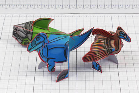 Twinkl dinosaur Archaeopteryx, Deinonychus and Dunkleosteus paper toy craft model educational printable graphic design Alex Gwynne