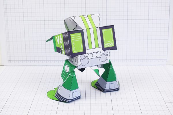 PTI February Patreon paper craft robot stalker v6 image - back