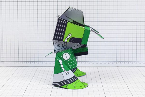 PTI February Patreon paper craft robot stalker v6 image - side