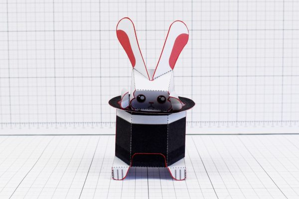 PTI Magic Rabbit Shy paper toy craft image - front
