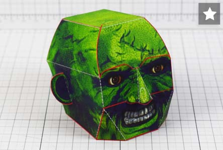 THU - Halloween Zombie Head Decoration Paper Toy Simple - Thumbnail