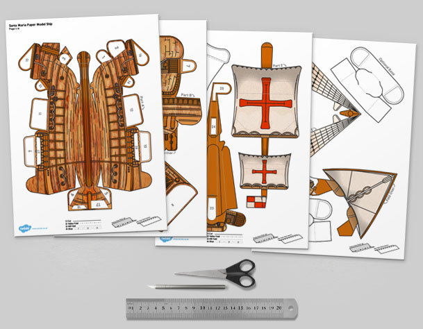 MU Columbus Day The Santa Maria Ship Paper Model Template Mock Up
