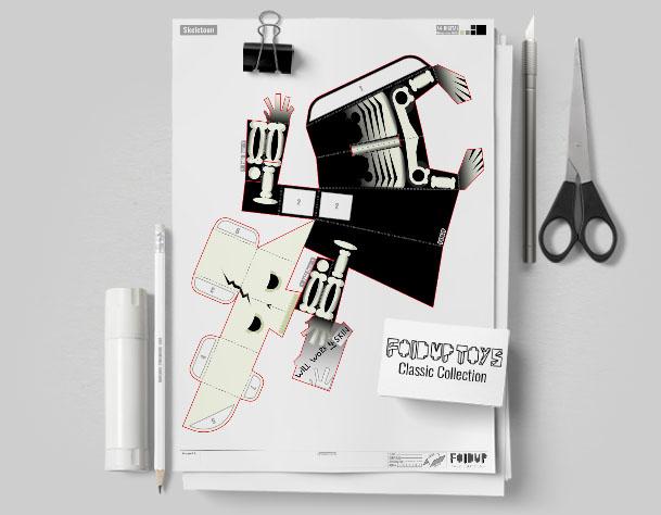 MU Skeletoon Paper Toy Flat Template Mock Up 2
