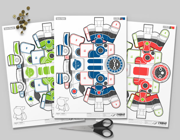 MU YPC Robots Paper Toy Flat Template Mock Up