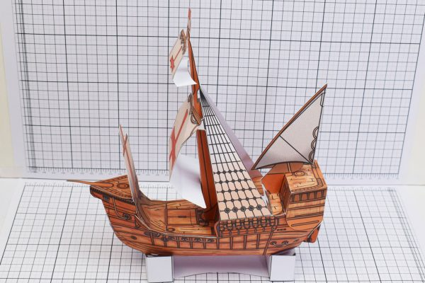 PTI Columbus Day The Santa Maria Ship Paper Model Bow Image