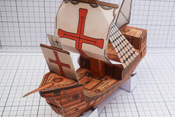 PTI Columbus Day The Santa Maria Ship Paper Model Close Image