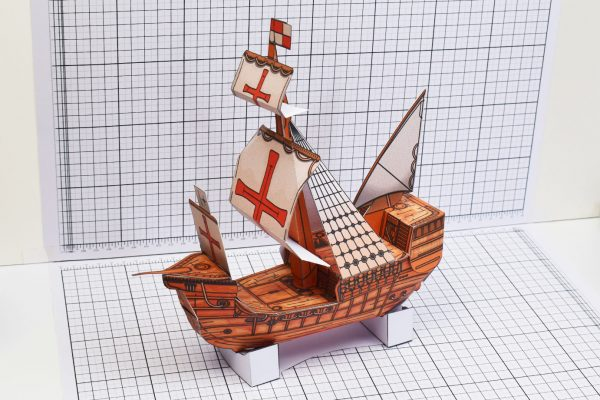 PTI Columbus Day The Santa Maria Ship Paper Model Side Image