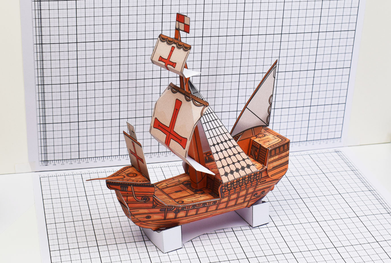 PTI Columbus Day The Santa Maria Ship Paper Model Side Image