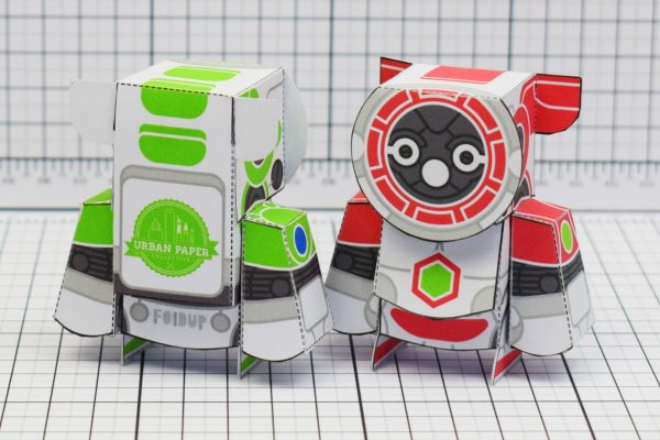 PTI UPC Robot Group Paper Toy Back Image