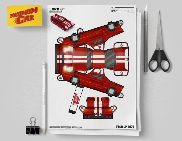 MU Pixel Maximum Car Lord-GT Paper Toy Flat Template Mock Up