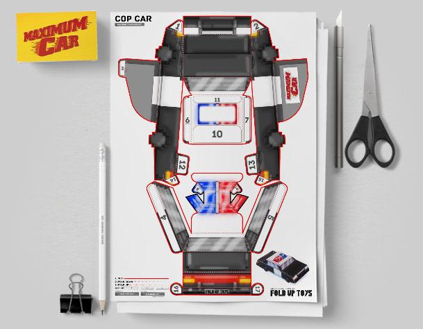 MU Pixel Maximum Car Police Paper Toy Flat Template Mock Up