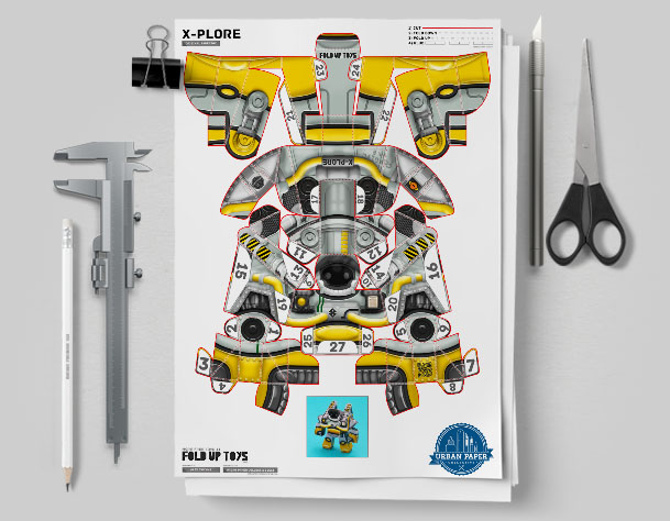 MU Xplore Space Robot UPC Paper Toy Flat Template Mock Up