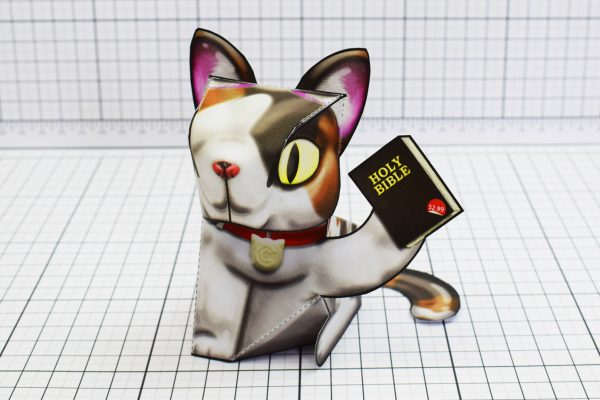 PTI Creationist Cat Bible Paper Toy Image Front