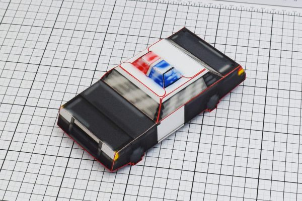PTI Pixel Maximum Car Police Paper Toy Image Top