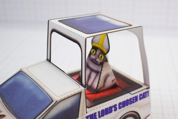 PTI Creationist Cat Catmobile Pope Paper Toy Image Close