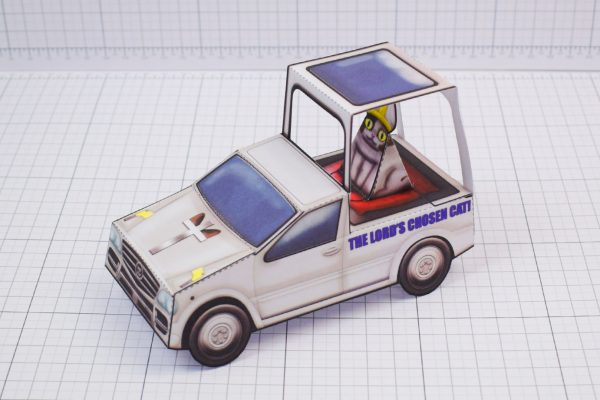 PTI Creationist Cat Catmobile Pope Paper Toy Image Main