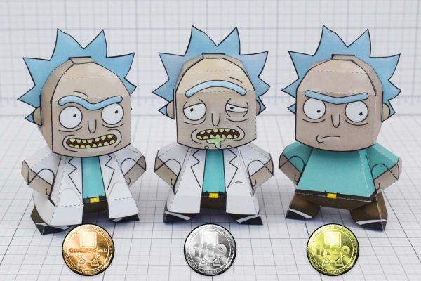 Rick and Morty Downloadable Paper Craft Toys Adult swim free toy model similar to funko and cubee