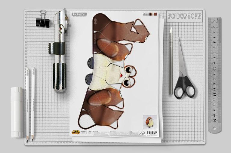 MU - Porg Star Wars Paper Toy 2019 - Mockup