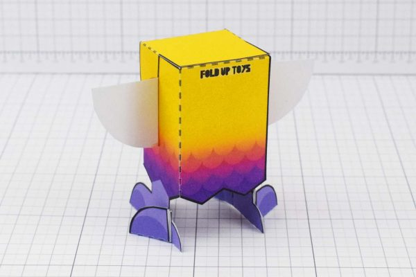 PTI Rainbow Bird Paper Toy Image - Back