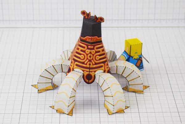 PTI Zelda Breath of the Wild LinkGuardian Paper Toy Image - Back