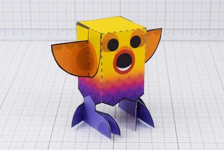 THU Rainbow Bird Paper Toy Image - Thumbnail
